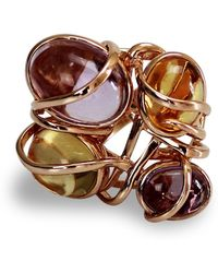 Bellus Domina - Gold-plated Citrine And Amethyst Cocktail Ring - Lyst
