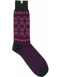 40 Colori - Purple Fair Isle Organic Cotton Socks - Lyst