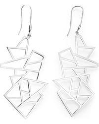 Ona Chan Jewelry | Multi Lattice Drop Earrings Silver | Lyst