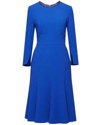 Rumour London - Christina Royal Blue Fluted Dress - Lyst