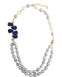 Farra - Double Strand Natural Freshwater Pearls With Lapis Lazuli Necklace - Lyst