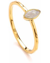 Dione London - Luciana Moonstone Marquis Stacking Ring - Lyst