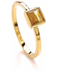 Dione London - Luciana Citrine Square Stacking Ring - Lyst