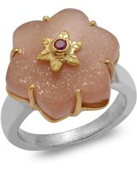 Emma Chapman Jewels - Sylvie Peach Moonstone Ruby Ring - Lyst