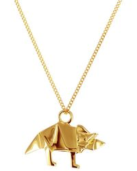Origami Jewellery | Sterling Silver & Gold Mini Triceratop Origami Necklace | Lyst