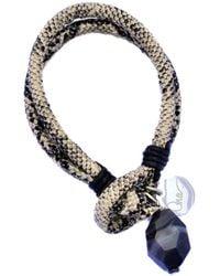 Ona Chan Jewelry - Vegan Leather Snake Print Bracelet With Black Striped Agate Tan - Lyst