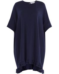Paisie - Relaxed Fit Cotton Dress With Ruffled Dip Hem In Navy - Lyst