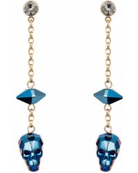Nadia Minkoff - Crystal Skull And Spike Earrings Metallic Blue - Lyst