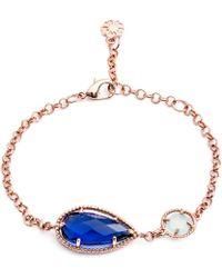 Azuni London - Delphi Diametric Bracelet In Iolite & Aqua Chalcedony - Lyst