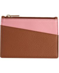 Stow - Luxury Soft Leather Coin Purse & Card Wallet Golden Quartz & Candy Pink - Lyst