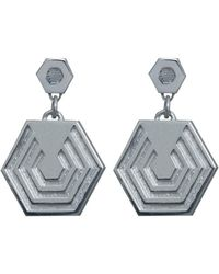 Edge Only - Hexagon Drop Earrings In Gold - Lyst