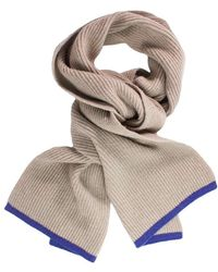 40 Colori - Beige Petrol Blue Small Ribbed Wool & Cashmere Scarf - Lyst