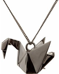 Origami Jewellery | Swan Necklace Sterling Silver Gun Metal | Lyst