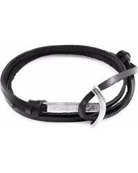 Anchor & Crew   Coal Black Clipper Silver & Leather Bracelet   Lyst