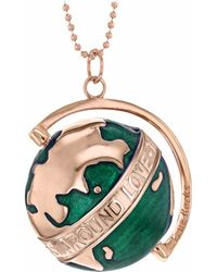 True Rocks - Large Spinning Globe Necklace Rose Gold & Green Enamel - Lyst
