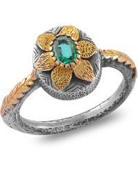 Emma Chapman Jewels - Lola Emerald Gold Flower Ring - Lyst