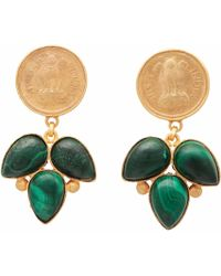 Carousel Jewels - Green Onyx Coin Earrings - Lyst