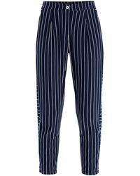 Paisie - Striped Jersey Trousers With Side Panel Detail In Navy & White - Lyst