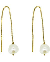 Yvonne Henderson Jewellery - Pearl Thread Through Drop Earrings - Lyst