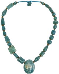 N'damus London - Amber Blue Chunky Beaded Necklace - Lyst