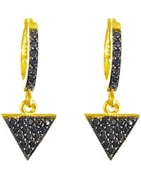Talia Naomi | Illuminati Black Sleeper Hoop Earrings | Lyst