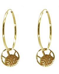 KIND - Medium Gold Soleil Disc Hoop Earrings - Lyst