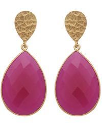 Carousel Jewels - Double Drop Fuchsia Chalcedony & Gold Nugget Earrings - Lyst