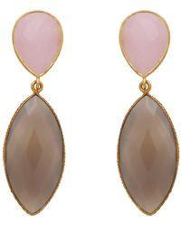 Carousel Jewels - Rose Quartz & Chalcedony Double Drop Long Earrings - Lyst