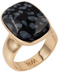 Nadia Minkoff - Semi Precious Vertical Ring Gold With Black Snowflake Obsidian - Lyst