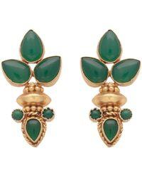 Carousel Jewels - Elegant Multi Green Onyx Gold Earrings - Lyst