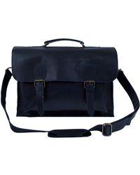 MAHI - Leather Messenger Satchel Bag In Navy - Lyst