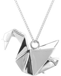 Origami Jewellery | Swan Necklace Silver | Lyst