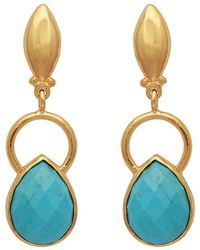 Carousel Jewels - Gold Ring & Teardrop Turquoise Earrings - Lyst