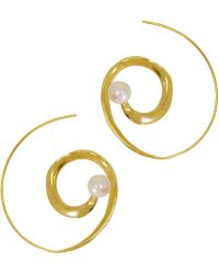 Ottoman Hands - Whirlpool Pearl Spiral Hoop Earrings - Lyst