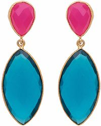 Carousel Jewels - Fuchsia Chalcedony & Blue Quartz Double Drop Earrings - Lyst