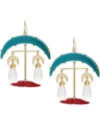 Eshvi Mk Turquoise Lips Earrings