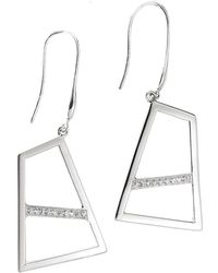 Ona Chan Jewelry - Double Drop Earring With Sapphire Silver - Lyst