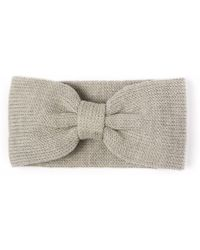 Alma Knitwear Bow Merino Earwarmer Beige