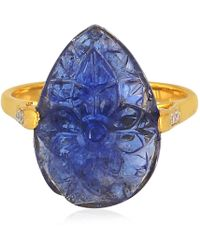 Artisan 18k Gold Ring With Carved Pear Tanzanite