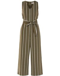 Paisie - Striped Jumpsuit With Side Cut Outs With Self Belt In Olive Green & White - Lyst
