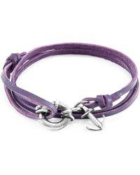 Anchor & Crew - Grape Purple Clyde Anchor Silver & Flat Leather Bracelet - Lyst