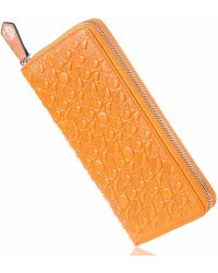 Drew Lennox - Luxury English Leather Ladies 12 Card Zip Around Purse & Wallet In Monarch Orange - Lyst
