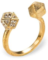 Ona Chan Jewelry - Mantra Cube Open Ring Gold With Swarovski Crystals - Lyst
