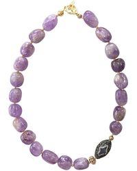Farra - Nugget Amethyst & Star Pearl Rhinestones Short Necklace - Lyst
