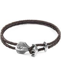 Anchor & Crew - Dark Brown Delta Silver & Braided Leather Bracelet - Lyst