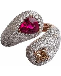 Ri Noor - Rubellite Fancy Diamond & White Diamond Ring - Lyst