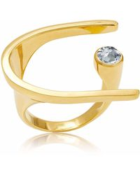 Neola - Lunaria Gold Cocktail Ring With Blue Topaz - Lyst