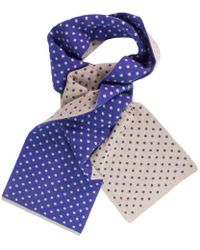 40 Colori - Beige Petrol Blue Dotted Wool & Cashmere Scarf - Lyst