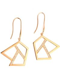 Ona Chan Jewelry - Drop Earring With Sapphire Rose Gold - Lyst