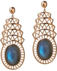 Alexandra Alberta - Yellow Gold Plated Khrysler Earrings With Labradorite - Lyst